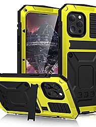 cheap -case for iphone 13/13 pro/13 pro max/13 mini, built-in screen protector heavy duty shockproof cover, rugged aluminum alloy & silicone military grade case with kickstand,yellow,iphone13 mini