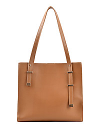 cheap -Women's Bags PU Leather Tote Crossbody Bag Zipper Solid Color Daily Outdoor Retro Leather Bag Tote Khaki Black Brown