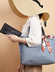 cheap -Women's Bags PU Leather Tote Bag Set Top Handle Bag 2 Pieces Purse Set Vintage Daily Date Bag Sets Tote Handbags Blue Blushing Pink Khaki White