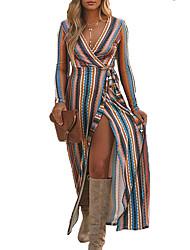 cheap -Women's A Line Dress Maxi long Dress Blue Purple Yellow Blushing Pink Green Long Sleeve Striped Split Lace up Print Fall V Neck Casual 2021 S M L XL XXL 3XL