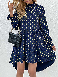 cheap -Women's Swing Dress Knee Length Dress Blue Long Sleeve Polka Dot Ruffle Fall Spring Turtleneck Casual 2021 S M L XL