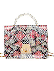 cheap -Women's Bags PU Leather Crossbody Bag Top Handle Bag Pearls Chain Snake Print Daily Date Handbags Chain Bag Blue Yellow Blushing Pink Green