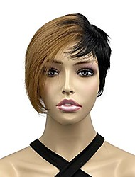 cheap -Onemily Asymmetrical Wigs for Women Synthetic Straight Wigs Short Bob Wigs Heat Resistant Fiber Easy Comb Hair Replacement Wigs for Daily Dating Party (Half Strawberry Blonde Half Black)
