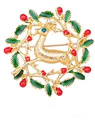 cheap -Women's Brooches Geometrical Bell Artistic Fashion European Sweet Brooch Jewelry Golden Red Green For Christmas Daily Festival