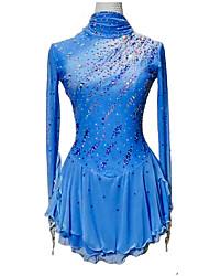 cheap -Figure Skating Dress Women's Girls' Ice Skating Dress Violet Blue Spandex High Elasticity Training Competition Skating Wear Crystal / Rhinestone Long Sleeve Ice Skating Figure Skating