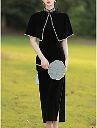 cheap -Sheath / Column Mother of the Bride Dress Vintage Wrap Included High Neck Ankle Length Velvet Short Sleeve with Split Front 2021