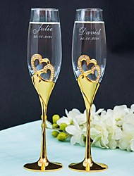 cheap -Gold Plated / Glass / Zinc Alloy Toasting Flutes Gift Box Wedding All Seasons