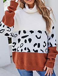 cheap -Women's Pullover Sweater Jumper Knitted Color Block Stylish Casual Soft Long Sleeve Sweater Cardigans Turtleneck Fall Winter Light Brown Khaki Black