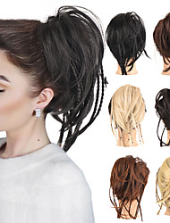 cheap -Messy Hair Bun With Elastic Bands Scrunchies Hair Pieces For Women Synthetic Straight Braids Chignon Fake Hair