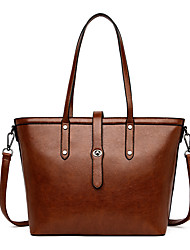 cheap -Women's Bags PU Leather Tote Crossbody Bag Top Handle Bag Buttons Zipper Plain Solid Color Vintage Daily Outdoor Retro Tote Handbags Blue Blushing Pink Khaki Black
