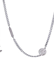 cheap -Beaded Necklace Harness Necklace Men's Women's Classic Titanium Steel Face Luxury Natural European Cool Silver 46 cm Necklace Jewelry 1pc for Wedding Work Club irregular