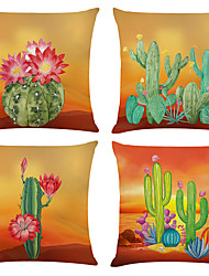 cheap -Cactus Double Side Cushion Cover 4PC Soft Decorative Square Throw Pillow Cover Cushion Case Pillowcase for Bedroom Livingroom Superior Quality Machine Washable Indoor Cushion for Sofa Couch Bed Chair
