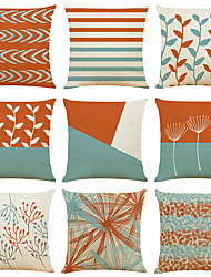 cheap -Coral Light Blue Double Side Cushion Cover 9PC Soft Decorative Square Throw Pillow Cover Cushion Case Pillowcase for Bedroom Livingroom Superior Quality Machine Washable Indoor Cushion for Sofa Couch Bed Chair