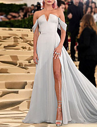 cheap -A-Line Celebrity Style Elegant Engagement Formal Evening Dress Strapless Short Sleeve Chapel Train Chiffon with Split 2021