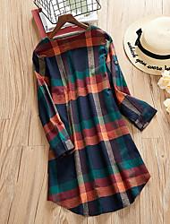 cheap -Women's Plus Size Dress Shirt Dress Short Mini Dress Long Sleeve Plaid Ruched Casual Fall Winter Red Coffee L XL XXL 3XL 4XL