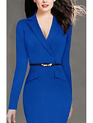 cheap -Women's Blazer Dresses Knee Length Dress Blue Black Long Sleeve Solid Color Formal Style Modern Style Winter Autumn Shirt Collar Formal WorkWear 2021 S M L XL XXL
