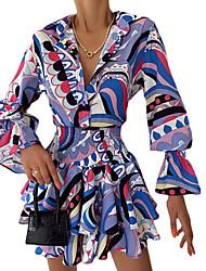 cheap -Women's A Line Dress Short Mini Dress Purple Long Sleeve Print Ruched Fall Shirt Collar Casual 2021 S M L XL XXL