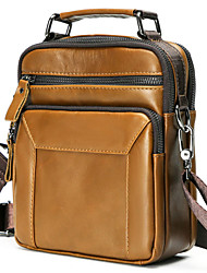 cheap -Men's Bags Nappa Leather Cowhide Coin Purse Crossbody Bag Top Handle Bag Zipper Plain Daily Going out Retro Leather Bag Handbags Brown