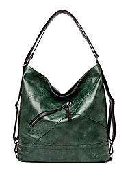 cheap -Women's Bags PU Leather Tote Top Handle Bag Zipper Plain Solid Color Vintage Daily Outdoor Retro Leather Bag Handbags Khaki Green Black Light Green