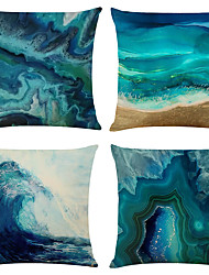 cheap -Abstract Blue Double Side Cushion Cover 4PC Soft Decorative Square Throw Pillow Cover Cushion Case Pillowcase for Bedroom Livingroom Superior Quality Machine Washable Indoor Cushion for Sofa Couch Bed Chair