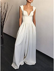 cheap -Jumpsuits Wedding Dresses V Neck Floor Length Stretch Fabric Sleeveless Country Simple with Pleats 2021