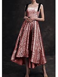 cheap -A-Line Spaghetti Strap / Strapless Asymmetrical / Ankle Length Sequined Bridesmaid Dress with Pleats