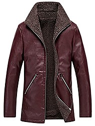 cheap -men's lightweight faux leather jackets casual vintage warm and fleece autumn and winter jackets red