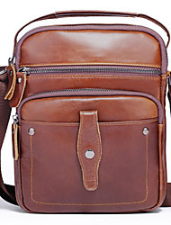 cheap -Men's Bags Nappa Leather Cowhide Crossbody Bag Zipper Plain Daily Going out Retro Leather Bag Brown