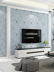 cheap -Wallpaper Wall Covering Sticker Film Embossed Stripe Diamond Inlaid High-end Deerskin Velvet  Non Woven  Home Decor 53*950CM