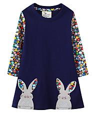 cheap -Kids Little Girls' Dress Floral Color Block Rabbit A Line Dress Daily Print Navy Blue Knee-length Long Sleeve Princess Cute Dresses Fall Spring Regular Fit 3-10 Years