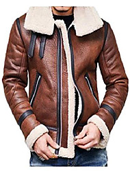 cheap -men's vintage motorcycle fur lined full standing collar zipper thick sherpa lined faux leather winter jacket thicken coat outwear,brown,xxxxl