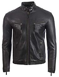 cheap -men's real leather classic biker fashion jacket (uh2p) 4xl black