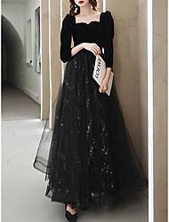 cheap -A-Line Sparkle Elegant Prom Formal Evening Dress Square Neck Sweetheart Neckline Long Sleeve Floor Length Tulle Velvet with Pleats Sequin 2021