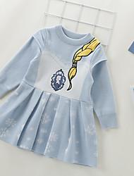 cheap -Kids Little Girls' Dress Graphic A Line Dress Casual Daily Print Blue Knee-length Long Sleeve Casual Cute Dresses Fall Winter Regular Fit 2-8 Years
