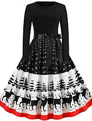 cheap -Women's A Line Dress Knee Length Dress Black Long Sleeve Animal Print Fall Winter Round Neck Casual Christmas 2021 S M L XL XXL
