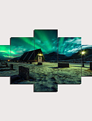 cheap -5 Panels Wall Art Canvas Prints Painting Artwork Picture Aurora Painting Home Decoration Decor Rolled Canvas No Frame Unframed Unstretched