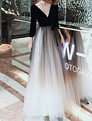 cheap -A-Line Elegant Gradient Wedding Guest Prom Dress Illusion Neck 3/4 Length Sleeve Floor Length Tulle with Bow(s) Pleats 2021