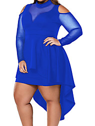 cheap -Women's A Line Dress Short Mini Dress Blue Yellow White Black Long Sleeve Solid Color Plus High Low Fall Summer Round Neck Casual Sexy 2021 M L XL XXL 3XL 4XL 5XL / Party Dress
