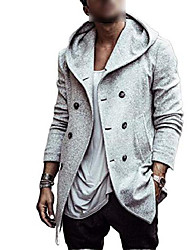 cheap -men's casual autumn trench coat jacket solid colour wool trench coat for men long coat - - s