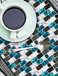 cheap -American Tile Stickers Spar Blue White Black Mosaic Self-adhesive Kitchen Wall Stickers Imitation 3d Tile Stickers