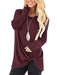 cheap -womens casual tunic tops long sleeve twist knot t shirts blouses(01-wine, large)