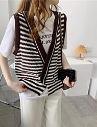 cheap -Women's Vest Stripe Striped Vintage Style Sleeveless Sweater Cardigans Deep V Fall Gray Green Black