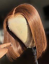 cheap -150% 180% 13x4 Lace Brown Lace Wigs Straight Short BOB Hair Remy Hair 180% T Part Lace Human Hair Wigs Blunt Cut Short BOB Straight Hair Wig