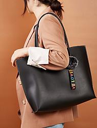 cheap -Women's Bags PU Leather Tote Top Handle Bag Plain Daily Date Tote Handbags Black