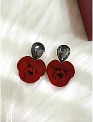 cheap -Women's Earrings Pear Cut Flower Simple Modern Sweet Earrings Jewelry Burgundy For Party Prom Club Bar 2pcs