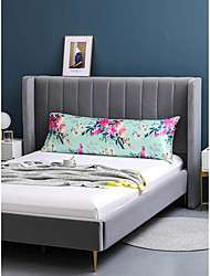 cheap -Body Pillow Cover Soft Floral Printed Satin Body Size Pillow Pillowcase with Envelope Closure Silky Long Pillow Case