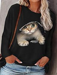 cheap -Women's Plus Size Tops Pullover Sweatshirt Cat Animal Print Long Sleeve Crewneck Streetwear Fall Blushing Pink Gray Green Big Size L XL XXL 3XL 4XL