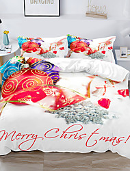 cheap -Christmas Decor 3-Piece Duvet Cover Set Hotel Bedding Sets Comforter Cover with Soft Lightweight Microfiber, Include 1 Duvet Cover, 2 Pillowcases for Double/Queen/King(1 Pillowcase for Twin/Single)