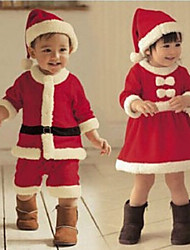 cheap -2 Pieces Baby Girls' Christmas Dress Active Basic Festival Wine Red Santa Claus Solid Color Solid Color Fur Trim Long Sleeve Knee-length