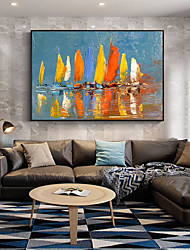 cheap -Oil Painting Handmade Hand Painted Wall Art Abstract Seascape Color Sailboat  Home Decoration Decor Stretched Frame Ready to Hang